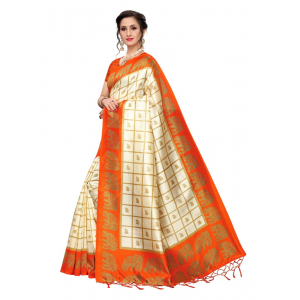 Generic Women's Art Silk Saree with Blouse (Orange, 5-6 Mtrs)