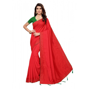 Generic Women's Sana Silk Saree with Blouse (Red, 5-6 Mtrs)
