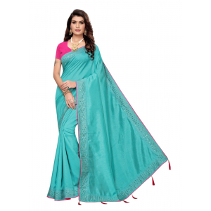 Generic Women's Sana Silk Saree with Blouse (Sky Blue, 5-6 Mtrs)