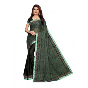 Generic Women's Lycra blend Saree with Blouse (GREEN, 5-6 Mtrs)