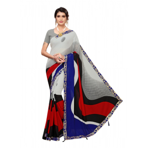 Generic Women's Georgette Saree with Blouse (WHITE,BLUE, 5-6 Mtrs)