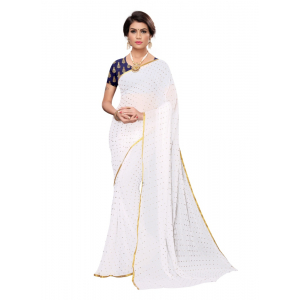 Generic Women's Chiffon Saree with Blouse (White, 5-6 Mtrs)