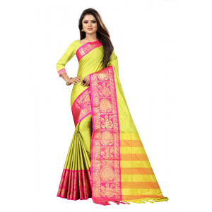 Generic Women's Cotton Silk Saree with Blouse (Lemon Pink,5-6 Mtrs)
