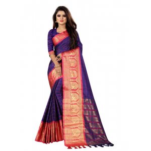 Generic Women's Cotton Silk Saree with Blouse (N.Blue Rani,5-6 Mtrs)