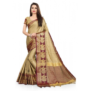 Generic Women's Cotton Silk Saree with Blouse (Chiku Wine,5-6 Mtrs)