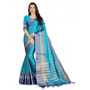 Generic Women's Cotton Silk Saree with Blouse (Blue,5-6 Mtrs)