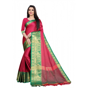 Generic Women's Cotton Silk Saree with Blouse (Rani Green,5-6 Mtrs)