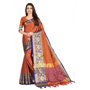 Generic Women's Cotton Silk Saree with Blouse (Orange,5-6 Mtrs)