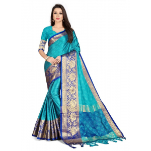 Generic Women's Cotton Silk Saree with Blouse (Firozi,5-6 Mtrs)