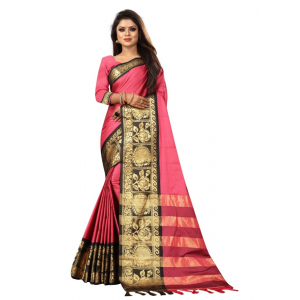 Generic Women's Cotton Silk Saree with Blouse (Pink Black,5-6 Mtrs)