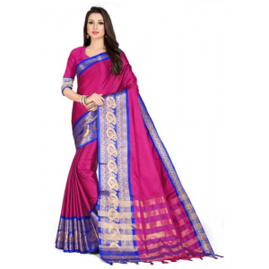 Generic Women's Cotton Silk Saree with Blouse (Rani Blue,5-6 Mtrs)