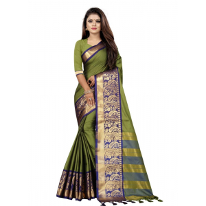 Generic Women's Cotton Silk Saree with Blouse (Green Blue,5-6 Mtrs)