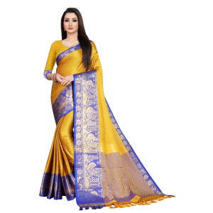 Generic Women's Cotton Silk Saree with Blouse (Gold Blue,5-6 Mtrs)