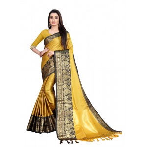 Generic Women's Cotton Silk Saree with Blouse (Gold Black,5-6 Mtrs)