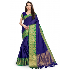 Generic Women's Cotton Silk Saree with Blouse (Blue Green,5-6 Mtrs)
