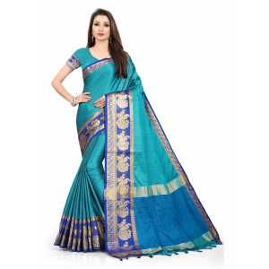Generic Women's Cotton Silk Saree with Blouse (Firozi ,5-6 Mtrs)