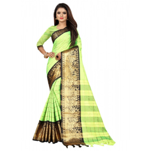 Generic Women's Cotton Silk Saree with Blouse (Parrot Black,5-6 Mtrs)
