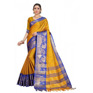 Generic Women's Cotton Silk Saree with Blouse (Yellow Blue,5-6 Mtrs)