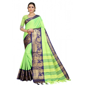 Generic Women's Cotton Silk Saree with Blouse (Parrot Blue,5-6 Mtrs)