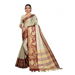 Generic Women's Cotton Silk Saree with Blouse (Chiku Coffee,5-6 Mtrs)