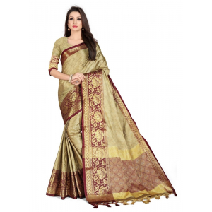 Generic Women's Cotton Silk Saree with Blouse (Chiku,5-6 Mtrs)