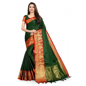 Generic Women's Cotton Silk Saree with Blouse (Green Red,5-6 Mtrs)
