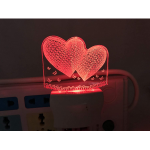 Generic Multicolor Twin Hearts Night Lamp (Screwless)