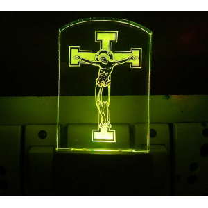 Generic Multicolor Jesus Christ Cross Night Lamp