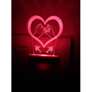 Generic Multicolor Promise With Heart Love Night Lamp
