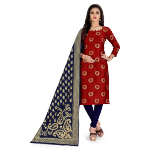 Generic Women's Cotton Silk Blend Salwar Material(Red, 2.5 Mtrs)