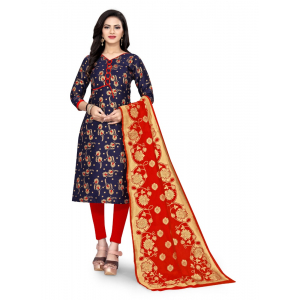 Generic Women's Cotton Silk Blend Salwar Material(Blue, 2.5 Mtrs)