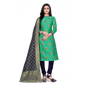 Generic Women's Cotton Silk Blend Salwar Material(Green, 2.5 Mtrs)