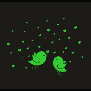 Generic Green Birds And Star Radium Wall Sticker