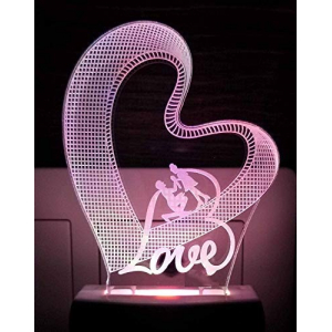 Generic Heart with Love couple AC Adapter Night Lamp