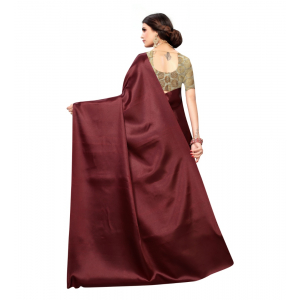 Generic Women's Satin Saree With Blouse (Maroon,6-3 Mtrs)