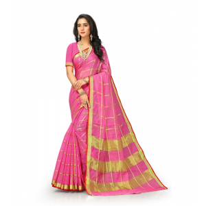 Generic Women's Kota Doria Cotton Saree With Blouse (Pink,6-3 Mtrs)