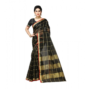 Generic Women's Kota Doria Cotton Saree With Blouse (Black,6-3 Mtrs)
