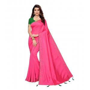 Generic Women's Zoya Silk Saree With Blouse (Pink,6-3 Mtrs)