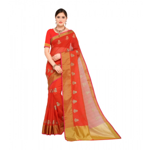 Generic Women's Kota Doria Cotton Saree With Blouse (Orange,6-3 Mtrs)