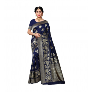 Generic Women's Jacquard Silk Saree With Blouse (Nevy Blue,6-3 Mtrs)