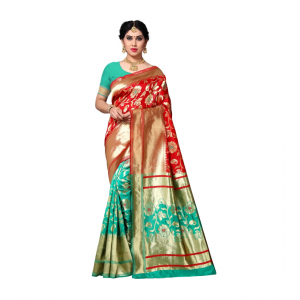 Generic Women's Jacquard Silk Saree With Blouse (Green,6-3 Mtrs)