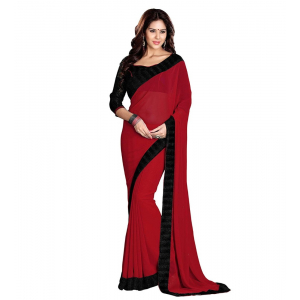 Generic Women's Georgette Saree With Blouse (Red,6-3 Mtrs)