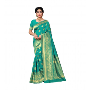 Generic Women's Jacquard Silk Saree With Blouse (Rama,6-3 Mtrs)