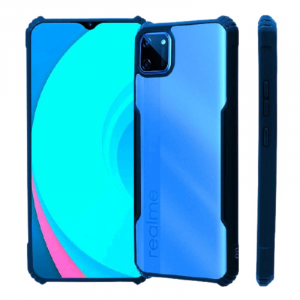 Generic Mobile Case Cover For Realme C11(Smoke Back Case,Color: Blue,Material:Plastic)