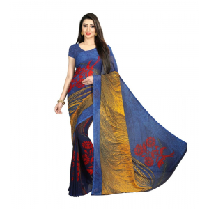 Generic Women's Georgette Saree(Blue,5-6 Mtrs)