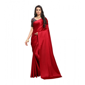 Generic Women's Satin Saree(Red,5-6 Mtrs)