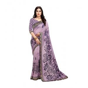 Generic Women's Vichitra Silk Saree(Purple,5-6 Mtrs)