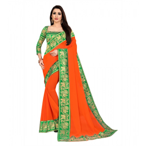 Generic Women's Chiifon, Jacquard Blouse Saree(Orange,5-6 Mtrs)