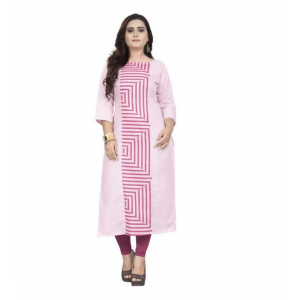 Generic Women's Kurtis With Heavy Slub Cotton Casual (Color:baby pink,Sleeve: 3/4 Sleeve)