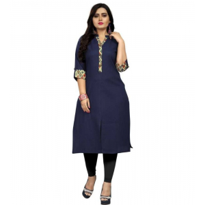 Generic Women's Kurtis With Heavy Slub Cotton Casual (Color:Neavy Blue,Sleeve: 3/4 Sleeve)